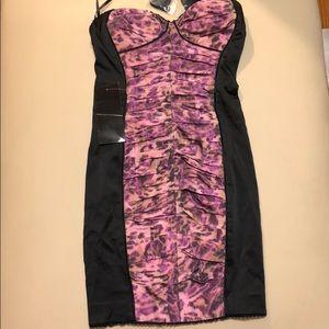 Bebe Black With Purple Animal Print NWT Dress